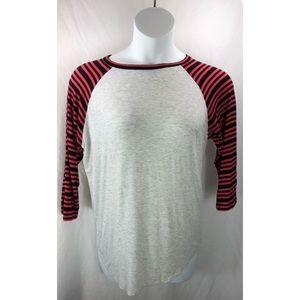 Lularoe tee shirt stripe raglan sleeve 4917
